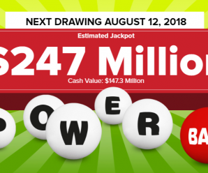Powerball unclaimed, will rise to $247 million for Saturday, Aug 11, 2018