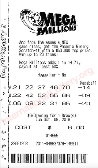 mega millions scanned ticket
