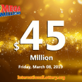 Mega Millions results for 19/03/05; the next jackpot is $45 million