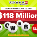 Powerball is now up to $118 million for the next Wednesday's drawing
