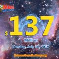 Mega Millions results of 19/07/12, Jackpot raises to $137 million