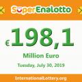 The jackpotSuperEnalottoraises to 198.1 million Euro for July 30, 2019
