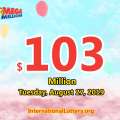 Mega Millions results of August 23, 2019, Jackpot is at $103 million