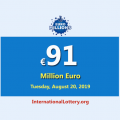 The next EuroMillions jackpot will be worth €91 million euro