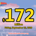 Mega Millions results for 10 Sept, 2019 – Jackpot hits $172 million