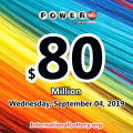 Powerball jackpot jumps to $80 million on Sep 04, 2019