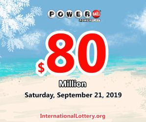 No winner of Powerball jackpot; 1 second prize on Wednesday 18 Sept, 2019