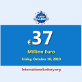 EuroMillions jackpot stands at €37 million euro for October 18, 2019