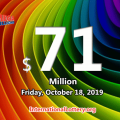 The results of Mega Million on October 15, 2019; Jackpot is $71 million