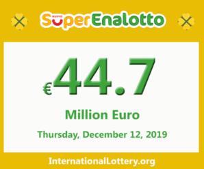 Jackpot SuperEnalotto jackpot stands at 44.7 million Euro
