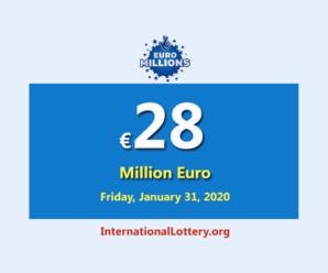 EuroMillions jackpot raises to €28 million euro for January 28, 2020