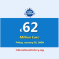 EuroMillions Lottery is the second-largest jackpot in the world with €62 million euro