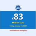 The results of EuroMillions Lottery on January 07, 2020; Now, Jackpot is €83 million euro
