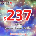 Result of Powerball on January 01, 2020: Jackpot is $237 million now