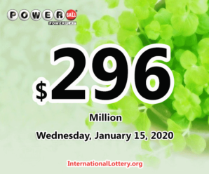 Two winners received $3 million; Powerball jackpot spins to $296 million