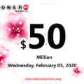 Result of Powerball on February 01, 2020: One player won $1,000,000