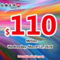 Powerball results for 20/03/07; Jackpot is up to $110 million