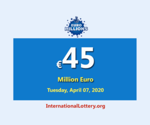 The results of Euro Millions Lottery on April 03, 2020; Jackpot is €45 million euro