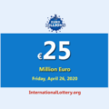 The result of Euro Millions on April 21, 2020; Jackpot is 25 million Euro