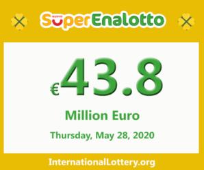 Jackpot SuperEnalotto is raising to 43.8 million Euro on May 28, 2020