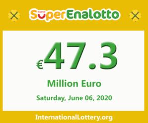 Jackpot SuperEnalotto jackpot stands at 47.3 million Euro