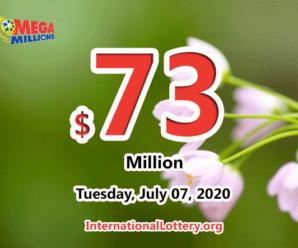 Mega Millions stands at $73 million; one player won $2 million