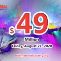 The results of Mega Million on August 18, 2020; Jackpot is $49 million