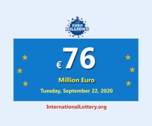 Five players won the second prizes; Euro Millions Lotteryjackpot is €76 million