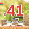 The results of Mega Million on September 29, 2020; Jackpot is $41 million