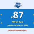 Three players won the second prizes; EuroMillions LotteryJackpot is €87 million