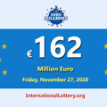 Five players won the second prizes of Euro Millions Lottery; Jackpot is €162 million