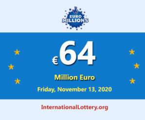 The result of Euro Millions on November 10, 2020; Jackpot is €64 million