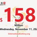 The result of Powerball of America on November 07, 2020; Jackpot is $158 million