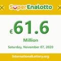 Jackpot SuperEnalotto is raising to €61.6 million on November 07, 2020