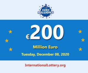 Euro Millions Lotteryresult of December 04, 2020; Jackpot is €200 million