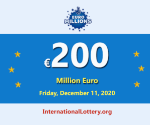 2020/12/08: 4 players won the second prizes; EuroMillions LotteryJackpot is €200 million