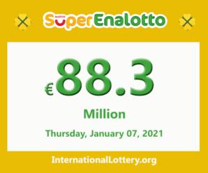 The jackpotSuperEnalottoraises to 88.3 million Euro for January 07, 2021