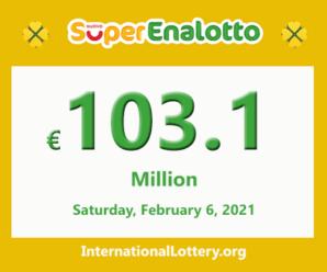 The jackpotSuperEnalottoraises to 103.1 million Euro for Feb 06, 2021