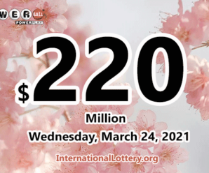 Three winners received the second prizes; Powerball jackpot spins to $220 million