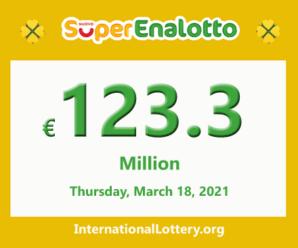 SuperEnalotto jackpot climbs to €123.3 million, Jackpot winner has not appeared yet