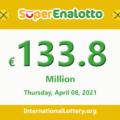 The jackpotSuperEnalottoraises to €133.8 million for April 08, 2021