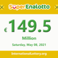 The jackpotSuperEnalottoofficially stands at 149.5 million Euro for the next drawing
