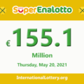 The results of SuperEnalotto lottery 2021/18/05; Jackpot is €155.1 million
