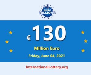 4 players won the second prizes; Euro Millions Lotteryjackpot is €130 million
