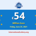 A player won the second prize of EuroMillions Lottery; Jackpot is €54 million