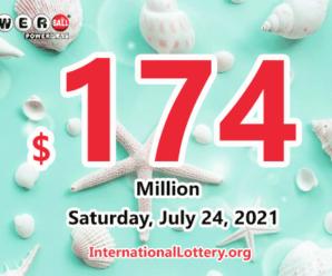2021/07/21: Two new millionaires; Powerball jackpot climbs to $174 million