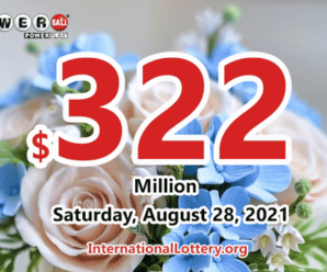 The result of Powerball of America on August 25, 2021; Jackpot is $322 million
