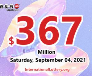 Who will win the next $367 million Powerball jackpot on September 04, 2021?
