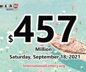 Powerball results of September 15, 2021: Jackpot raises to $457 million