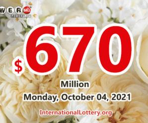 Who will win the next $670 million Powerball jackpot on October 04, 2021?